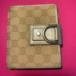 Authentic Rare Silver Gucci French Flap Wallet